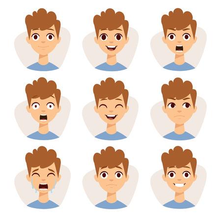 Lustiger Junge Emotionen und netten Jungen Porträt Emotionen Avatare. Illustration mit Jungen Kinder verschiedene Gesichtsausdrücke Emotionen Cartoon-Vektor zeigt. Vektorgrafik
