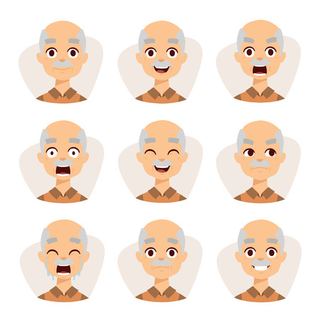 feelings and emotions: Grandpa emotions avatar and old grandpa feelings emotions vector. Set of an old man emotions simple flat design illustration of grandpa vector.