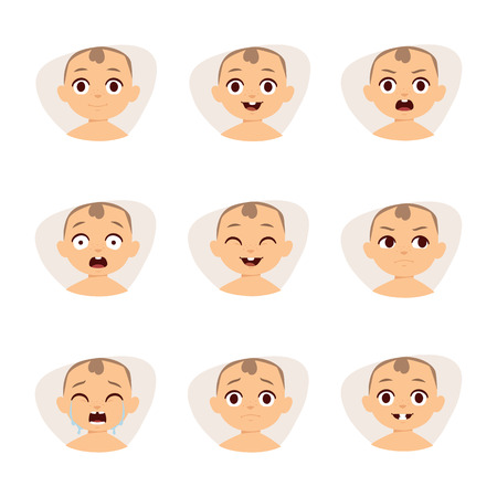 anger kid: Adorable baby emotions flat vector style and sweet baby funny emotions. Set of cute baby emoticons very simple but expressive cartoon  faces vector.