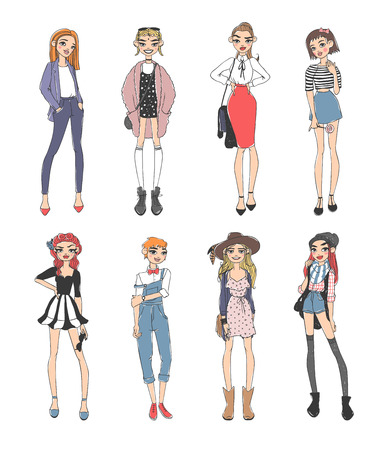 Beautiful young fashion girls dressed casual sketch glamour stylish clothes and fashion sketch girls clothes look models. Fashion casual girls pure beauty colored cartoon sketch flat vector illustration.