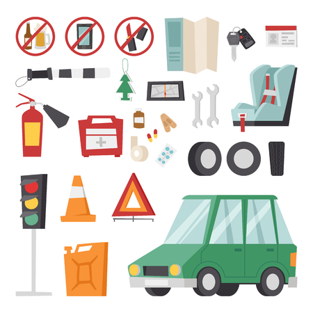 transmission: Various car parts equipment accessories, car equipment auto tools set vector. Car drive service elements concept with flat icons and mechanic car equipment vector. Illustration