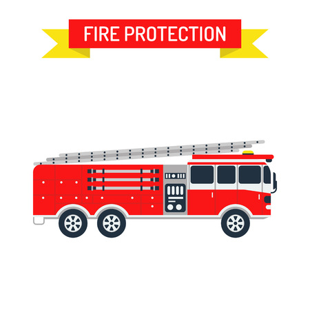 department: Fire truck safety department and fire truck siren transport vector. Detailed illustration of fire truck emergency car cartoon vector illustration in a flat style. Illustration
