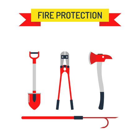 accident fire truck: Fire safety equipment sign and fire safety emergency icons set. Vector Set Firefighter Fire safety Flat Icons and Symbols.