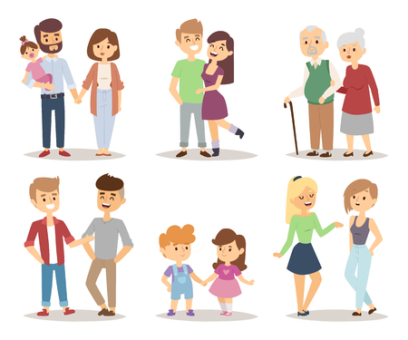 granddad: People happy couple cartoon and relationship people lifestyle couple cartoon vector. People couple relaxed cartoon vector illustration set.