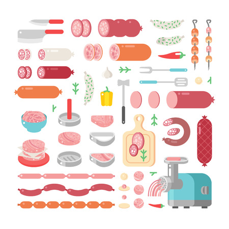 processed food: Assortment variety of processed cold meat products vector icons. Variety of food delicious meat icons products and sausage meat products vector icons. Illustration