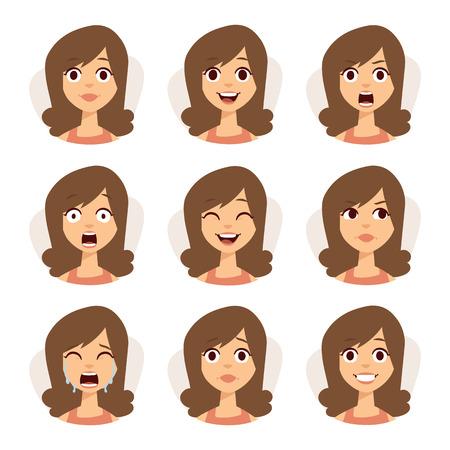 collage caras: Mujer iconos expresión de emociones y belleza de la mujer emociones del vector. aislado conjunto de expresiones avatar cara de la mujer ilustración vectorial emociones.