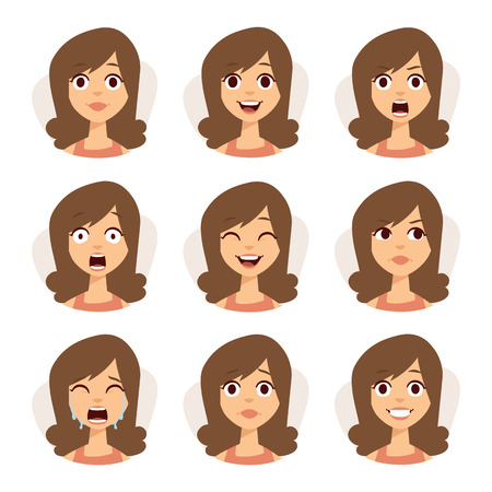 emotions faces: Woman emotions expression icons and beauty woman emotions vector. Isolated set of woman avatar expressions face emotions vector illustration.