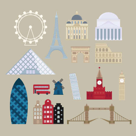 european culture: World countries cities vacation travel sightseeing collection european attractions and european attractions flat vector. Flat cartoon style historic sight european attractions vector illustration.