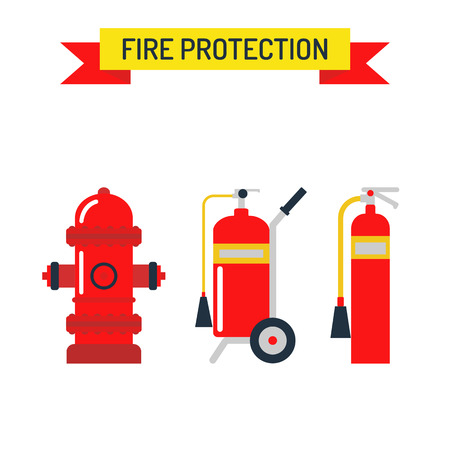 fire hydrant: Red fire hydrant security tool and red fire hydrant street symbol. Red fire hydrant emergency department flat vector illustration isolated on white.