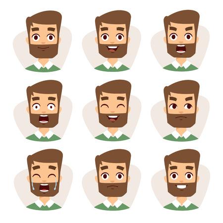 턱수염 남자 감정과 아바타 수염 남자 캐릭터 감정. 얼굴 벡터 문자 다른 감정 아이콘을 표현하는 젊은 수염 남자의 모자이크.