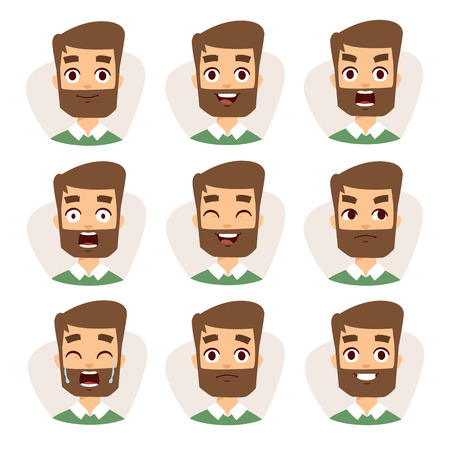 young man portrait: Beard man emotions and avatar beard man characters emotions. Faces vector characters mosaic of young beard man expressing different emotions icons.