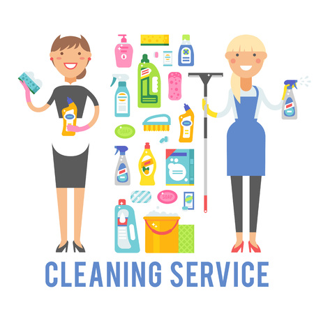 Cleaning service icons and two women cleaning service worker holding equipment. Young smiling cleaner woman service vector isolated over white background. 向量圖像