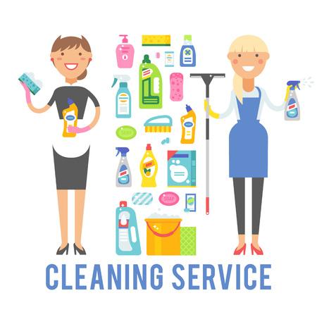 Schoonmaak pictogrammen en twee vrouwen schoonmaak werknemer met apparatuur. Jonge lachende schoner vrouw dienst vector geïsoleerd op een witte achtergrond. Stock Illustratie