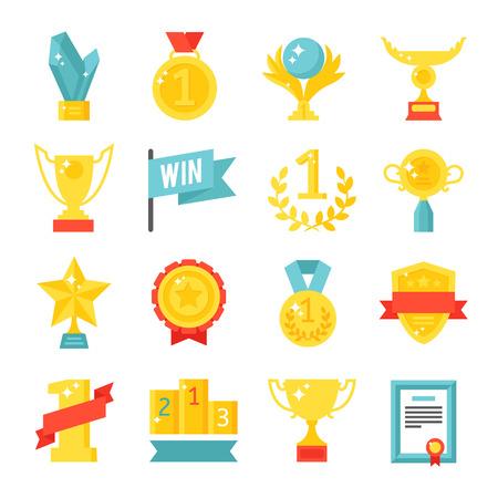 gold cup: Award medal icons and gold award emblem cartoon award icons vector. Trophy and awards icons set flat vector illustration. Illustration