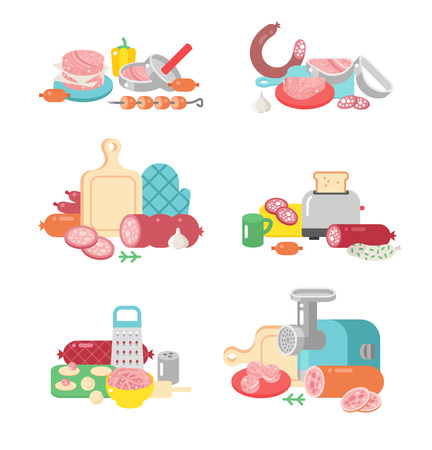 garlic bread: Meat products ingredient preparation and meat products rustic elements preparation equipment. Meat products food preparation flat vector illustration icons.