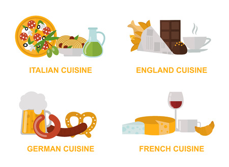 gourmet: Cuisine lunch cooking and kitchen menu cuisine lunch vector. Cuisine lunch gourmet traditional food flat vector illustration set.
