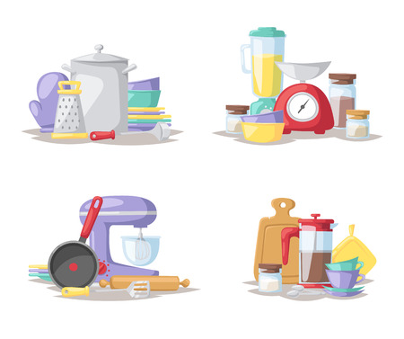 food preparation: Kitchen food preparation tools and kitchen tools collection vector. Kitchen cook tools set flat vector illustration.
