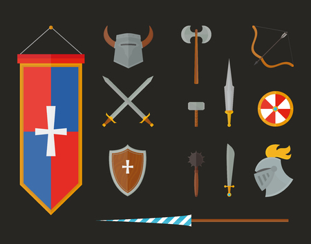 armour: Knight metal armour and vintage knight armour weapon vector. Knight armour with helmet, chest plate, shield and sword flat vector illustration isolated on white background. Illustration