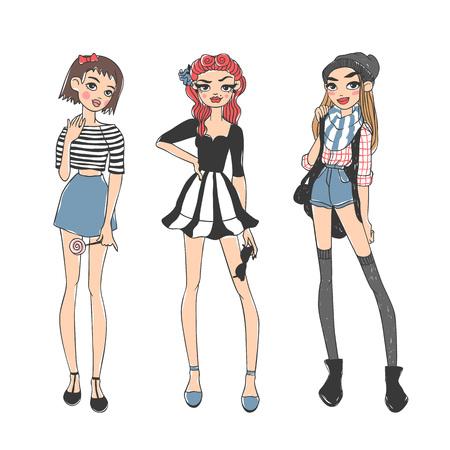 Hermosas chicas de moda joven vestidos casuales glamour boceto ropa con estilo y niñas bosquejo de la manera ropa se ve modelos. niñas casuales de la moda belleza pura de color de dibujos animados ilustración vectorial boceto plana.
