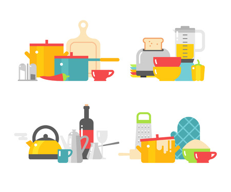 Modern kitchenware icons and flat kitchenware equipment. Home kitchenware devices in color vector flat illustration. Illustration