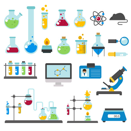chemical laboratory equipment and medical chemical laboratory tools vector graphic set chemical laboratory science and