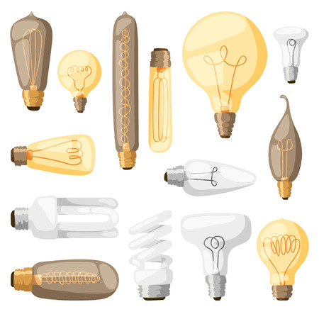 metal light bulb icon: Cartoon lamps electric and bright cartoon interior lamps flat vector. Cartoon lamps light bulb electricity design flat vector illustration.