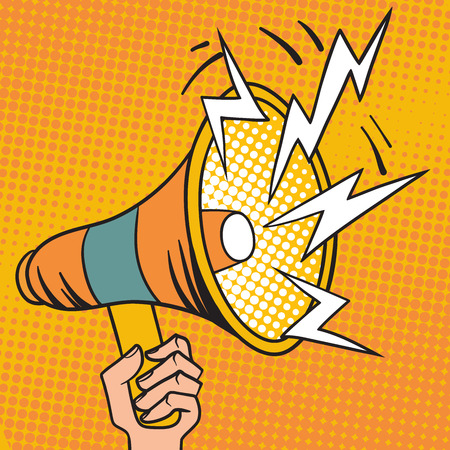 Megafono disegno pop art e di parola pop art megafono in mano vettore. Pop art design illustrazione megafono altoparlante vettore del fumetto.
