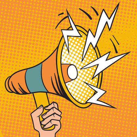 Megafoon ontwerp pop art en spraak pop art megafoon in de hand vector. Pop art megafoon ontwerp luidspreker cartoon vector illustratie.