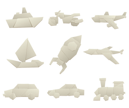 Origami Logistic Paper Transport And Concept Vector Illustration Collection Original Flat