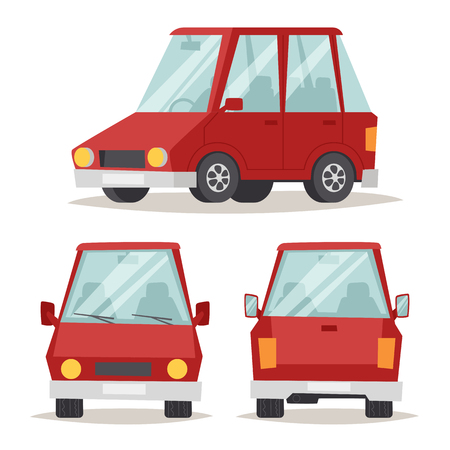 shiny car: Sedan red car design and red car shiny technology style vector. Generic red car luxury design flat vector illustration isolated on white. Illustration