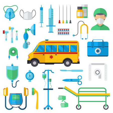 mechanical ventilation: Resuscitation symbols first aid kit and hospital resuscitation symbols flat vector. Resuscitation symbols vector illustration.