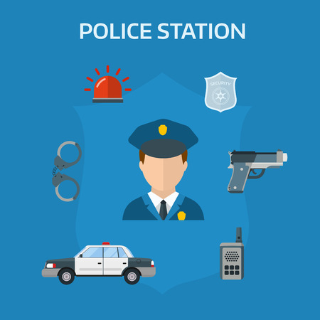 police equipment: Police equipment symbols and police protection symbols design. Security elements of the police equipment symbols vector icons. Illustration