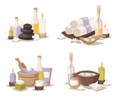 spa still life: Spa wellness icons and body spa relaxation icons vector. Spa still life icons with water lily and zen stone in serenity pool vector. Illustration