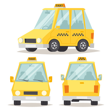 yellow car: Vector modern flat design illustration on commercial transport yellow retro taxi car and contemporary modern eco friendly hybrid yellow taxi car. Taxi yellow car flat style vector illustration.