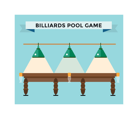 pool hall: Playing billiard table concept vector illustration. Billiard championat