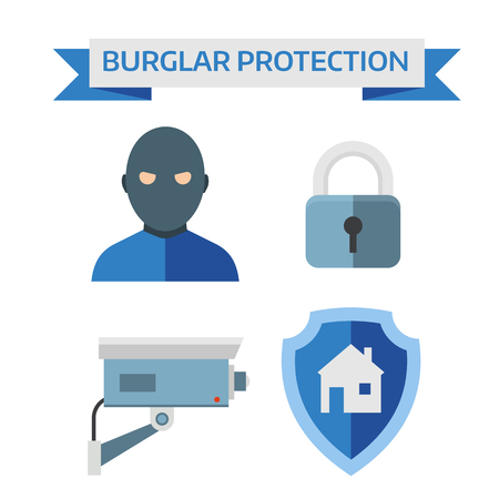 security monitor: Home security system and safety home security control vector. Illustration of vector flat design composition with home security icons.