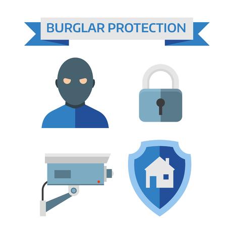 sistema: sistema de seguridad y control de vectores seguridad en el hogar seguridad. Ilustraci�n de la composici�n dise�o plano del vector con los iconos de seguridad del hogar. Vectores
