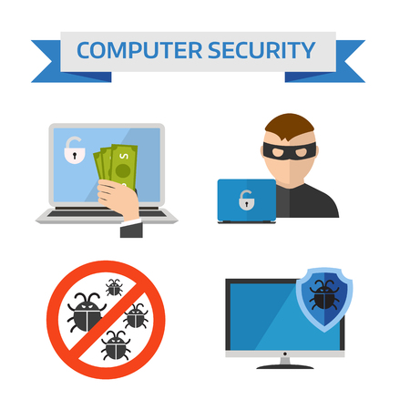 internet security: Concepts internet security and safety internet information security symbols. Flat design concepts for Internet Security, Mobile Payment, Marketing Solution flat vector icons. Illustration