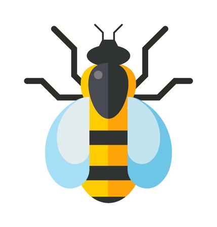 caricatura mosca: Abeja de la historieta y la abeja amarilla dulce. insecto trabajador verano, antena de abeja de la miel. Trabajador abejorro picadura de abeja ocupada insectos. occidental de la miel de abeja ala amarillo cubo europeo mosca insecto vector plana dulce trabajador. Vectores