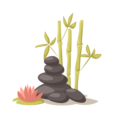 spa still life: Stone, flower and bamboo and hygiene items for bath spa vector. Bath spa stones aromatherapy organic. Spa stones beauty treatment spa and wellness organic therapy. Health treatment therapy spa stones.