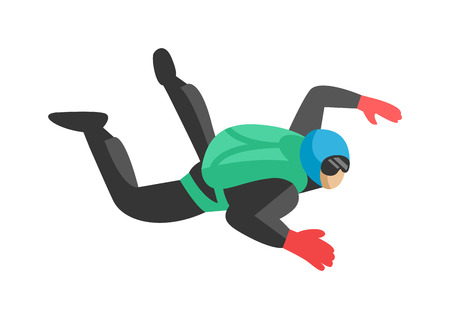parachutist: Skydiver man jumper and professional speed skydiver man. Skydiver lifestyle with green parachute back. Skydiver man parachutist foreground extreme sport freedom concept skydiver flat character vector. Illustration