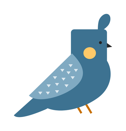 tuft: Cute canary bird and canary finch animal. Ornithology aves color sweet wilderness canary bird tuft hair head. Blue funny canary serinus canaria cute domestic finch nature and wildlife bird flat vector
