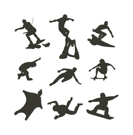 parkour: Extreme sport athletes silhouettes and extreme athletes silhouettes activity. Energy extreme sport silhouettes parkour skateboard. Vector drawing jumping and climbing men extreme athletes silhouettes.