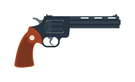 six shooter: Handgun revolver and military revolver. Revolver security caliber, cowboy wild safety shooter. Old American colt revolver wild west handgun danger crime ammunition or metal protection flat vector. Illustration