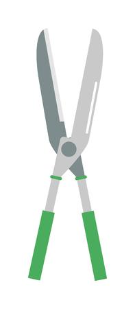 pruning: Gardening scissors hand work and steel gardening scissors equipment. Gardening scissors pruning sharp handle. Garden hobby cutter equipment plant. Gardening scissor metal cut tool equipment vector. Illustration