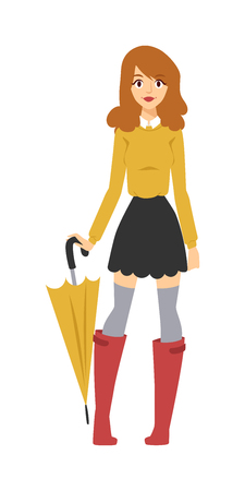 rubber boots: Pretty girl with umbrella, girl rubber boots with umbrella. Rainy water outdoor girl umbrella. Young girl with multicolored umbrella in nice fashionable clothes and red rubber boots character vector. Illustration