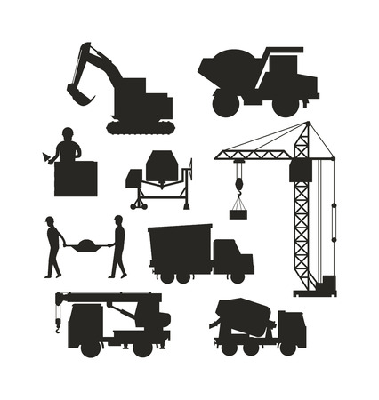 heavy construction: Silhouette of heavy equipment construction and machinery construction equipment silhouette. Machinery industrial. Set of heavy construction equipment silhouette machines icon building transport vector