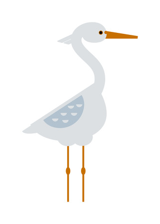 Stork lovely bird, crane grus and bird stork white crane flying cartoon animal. Announcement nature little grus. Stork standing and flying sarus crane grus cartoon cute animal lovely bird vector. 向量圖像
