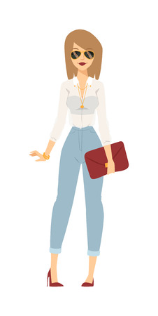 Style modern dress business girl concept and business dress girl corporate with handbag and shoes. Business dress girl attractive happy person with handbag and fashion glasses cartoon character vector