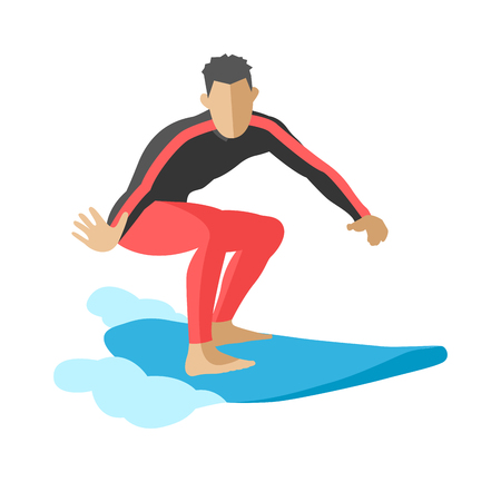 watersports: Surfing getting and summer surfing. Men on surfboard getting surfing. Extreme hobby watersports adventure active. Surfer blue ocean wave getting barreled surfing water extreme sport character vector.